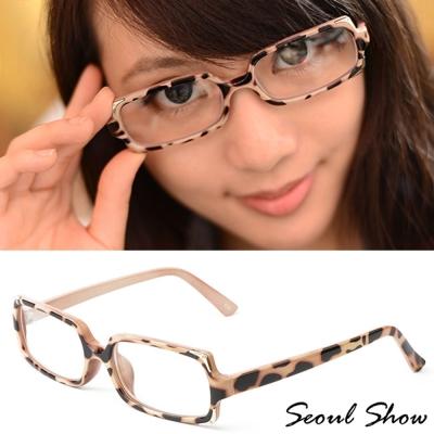 Seoul Show 金邊聚焦 方框平光眼鏡 6748 可可豹紋
