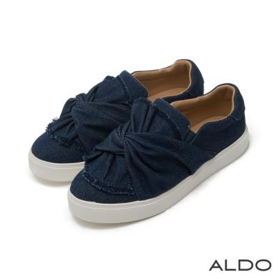 ALDO原色丹寧扭轉立體蝴蝶結厚底休閒鞋-個性藍色