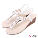 TTSNAP楔型涼鞋-粉嫩寶石花型夾腳坡跟涼鞋 白
