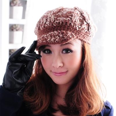 Aimee Toff 雙色美織小帽沿暖冬毛帽(咖)