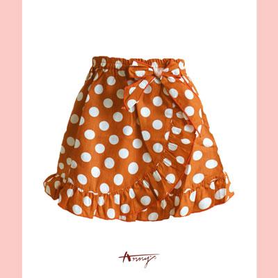 甜美大點點荷葉短裙*桔