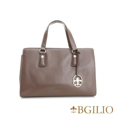 義大利BGilio-牛皮知性氣質手提包-灰褐色 1942.002A-06