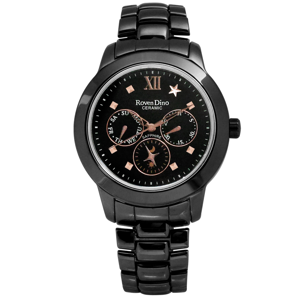 Roven Dino閃耀永恆星月藍寶石水晶陶瓷腕錶-黑色38mm