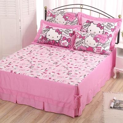 HELLO KITTY 嗨~你好嗎系列-精梳棉雙人枕套床包組(紅.粉)