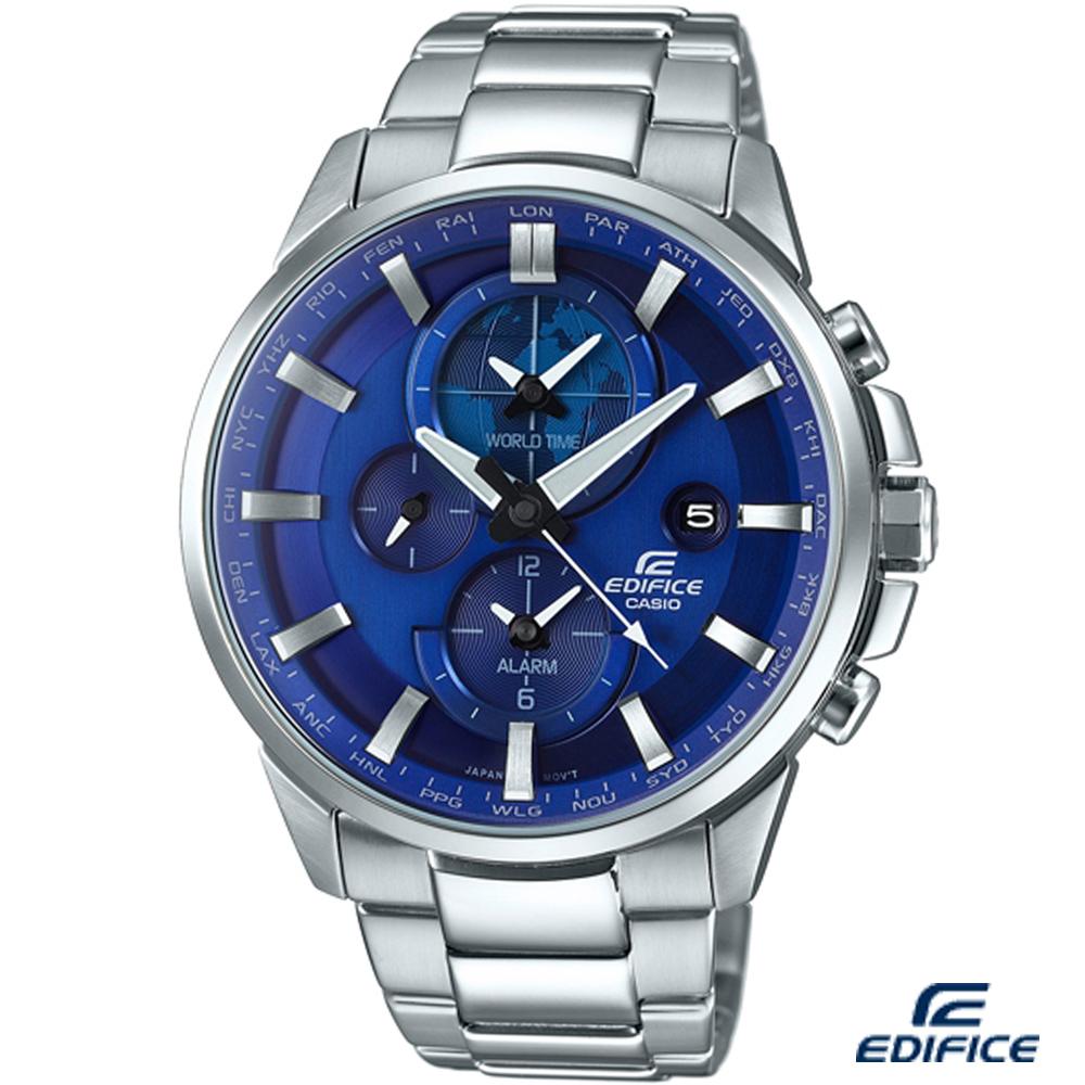 EDIFICE 新世界地圖鬧鈴錶(ETD-310D-2A)-藍/45.3mm