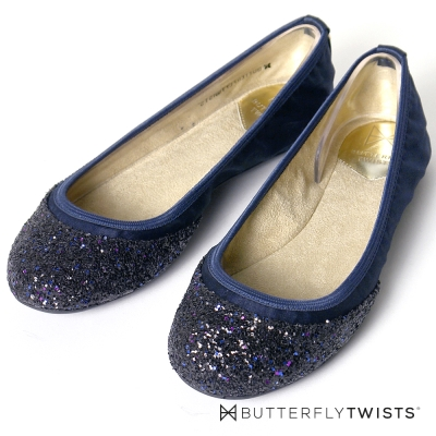 BUTTERFLY TWISTS-綢緞面亮片金蔥記憶軟墊平底鞋-藍