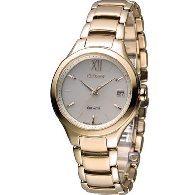 CITIZEN L系列 甜美柔和光動能時尚錶(EO1163-57P)-香檳金/34mm