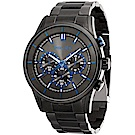 POLICE 鋒芒再現三眼計時手錶-黑X藍/45mm
