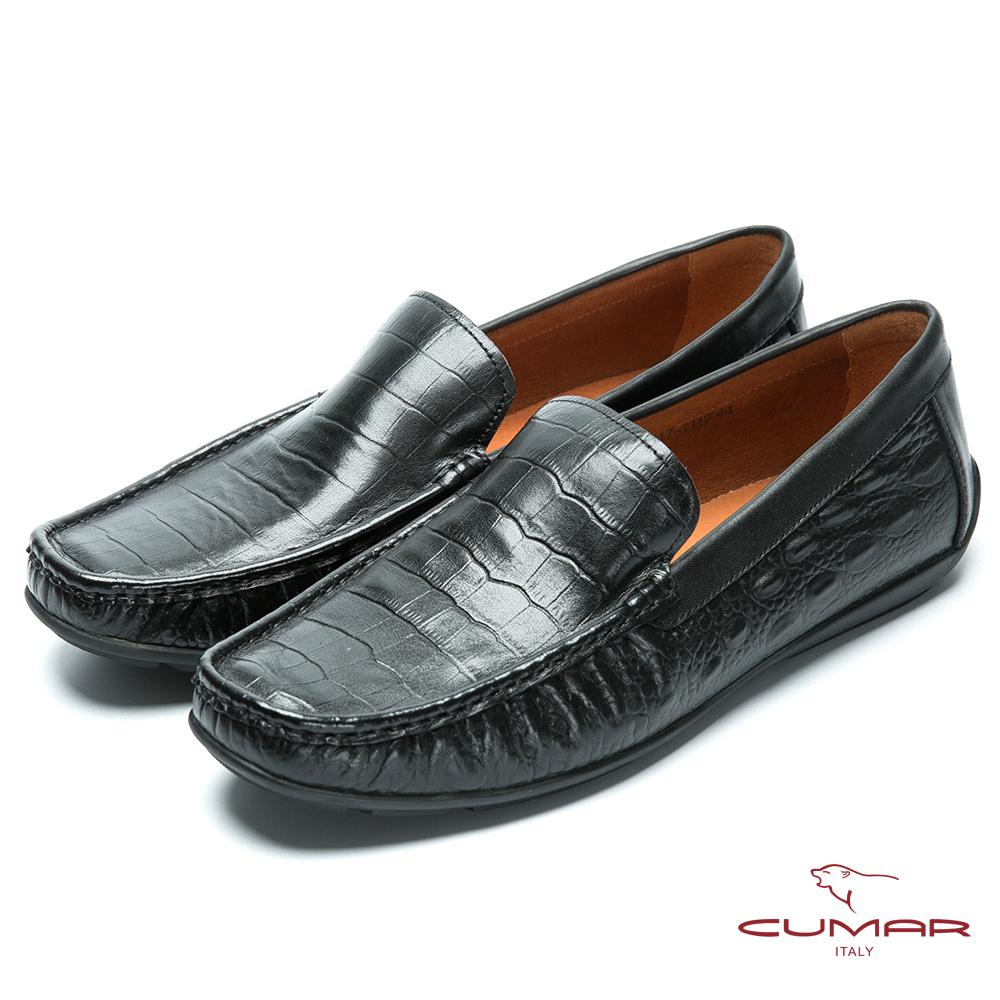 CUMAR 雅痞時尚 鱷魚壓紋帆船鞋-黑色