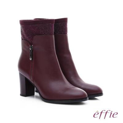 effie 保暖靴 牛皮拼接絨布閃亮水鑽拉鍊中筒靴 酒紅色