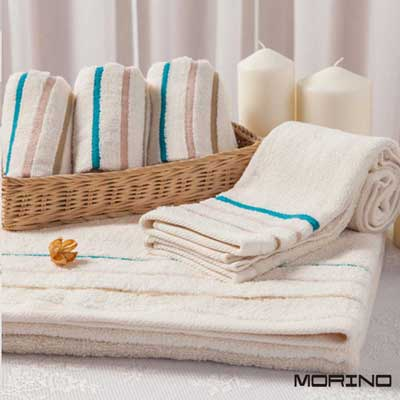 有機棉三緞條浴巾(超值2入組) MORINO摩力諾