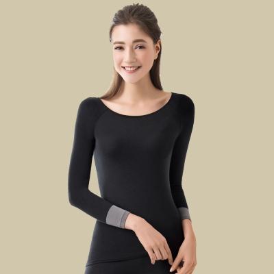 華歌爾 保暖圓領長袖款一枚二役 M-L 保暖隨型衣(黑)-保暖發熱
