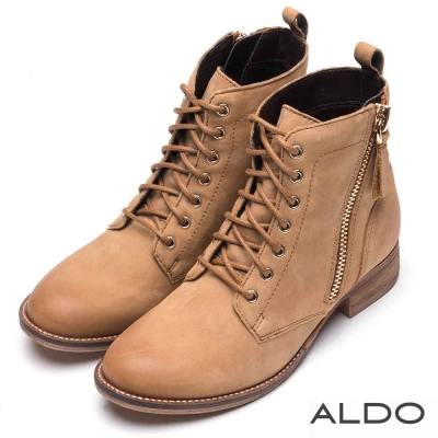 ALDO 原色真皮鞋面金屬拉鍊綁帶短靴~個性淺棕