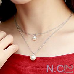 N.C21-正韓 雙珍珠金屬鍊條項鍊(銀色)