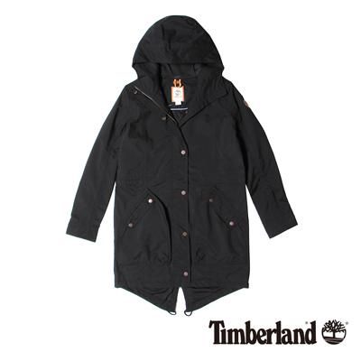 Timberland-女款黑色魚尾長版防雨連帽外套