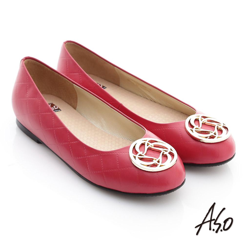 A.S.O 經典系列 全真皮立體壓紋奈米平底鞋 紅