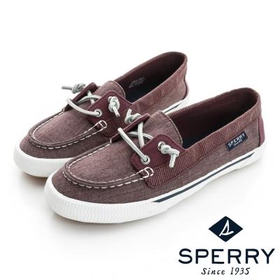 SPERRY 美式休閒帆布拼接休閒鞋(女)-紫