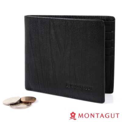 MONTAGUT夢特嬌-樹皮紋頭層牛皮真皮 短夾-10卡2夾1零