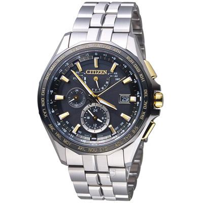 CITIZEN 勁量流線電波萬年曆限量錶(AT9095-50E)-黑色x金色/42mm