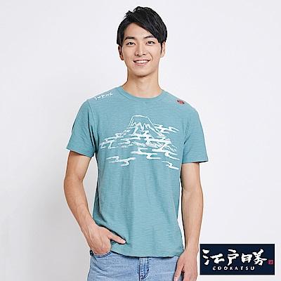 EDWIN 江戶勝雲海富士山短袖T恤-男-灰綠