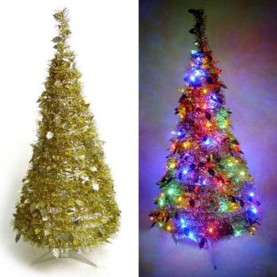 2尺(60cm)創意彈簧摺疊聖誕樹(金色系)+LED50燈電池燈(彩光)