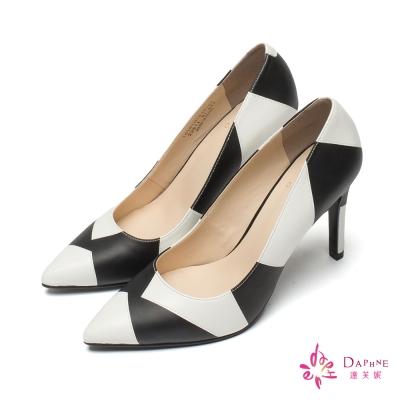 達芙妮DAPHNE 高跟鞋-尖頭拼色高跟鞋-白