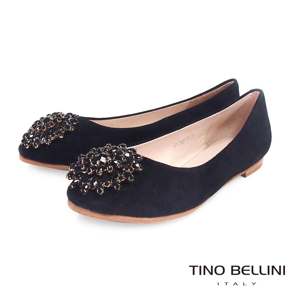 Tino Bellini 潾潾波光寶石花環娃娃鞋_黑