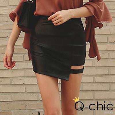 正韓 單挖空不規則皮革窄短裙 (黑色)-Q-chic