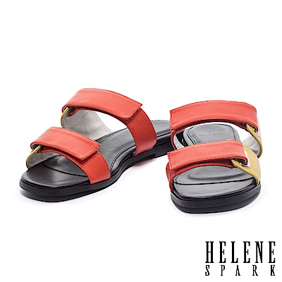 拖鞋 HELENE SPARK 個性撞色雙帶釦牛皮平底拖鞋-橘
