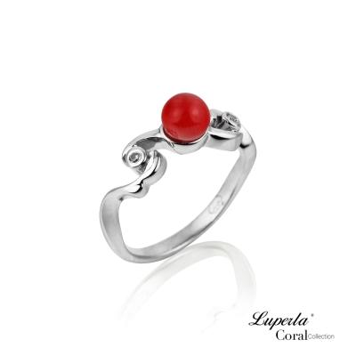 大東山珠寶 全紅珊瑚純銀戒指 長命富貴