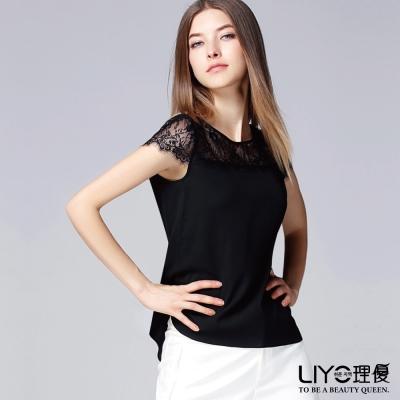 LIYO理優歐風上衣蕾絲拼接上衣(黑)