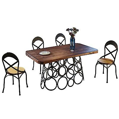 AT HOME-工業風設計5尺原木餐桌工作桌椅組-一桌四椅(150*85*76cm)