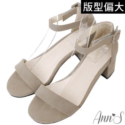 Ann'S簡約主義-一字帶繫踝魔鬼氈粗跟涼鞋-灰