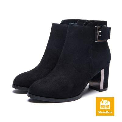 鞋櫃ShoeBox-短靴-方釦布面尖頭高跟踝靴-黑