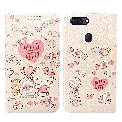Hello Kitty貓 OPPO R15 粉嫩系列彩繪磁力皮套(軟糖)