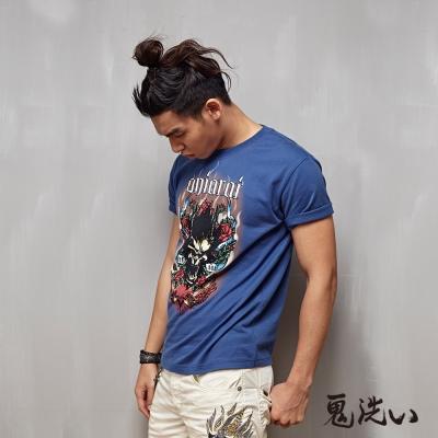 鬼洗 BLUE WAY 爆裂鬼美式圖騰植絨短袖T恤-灰藍
