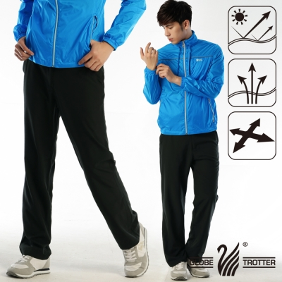 【遊遍天下】男款涼爽超顯瘦彈性吸濕排汗抗UV長褲P130黑色