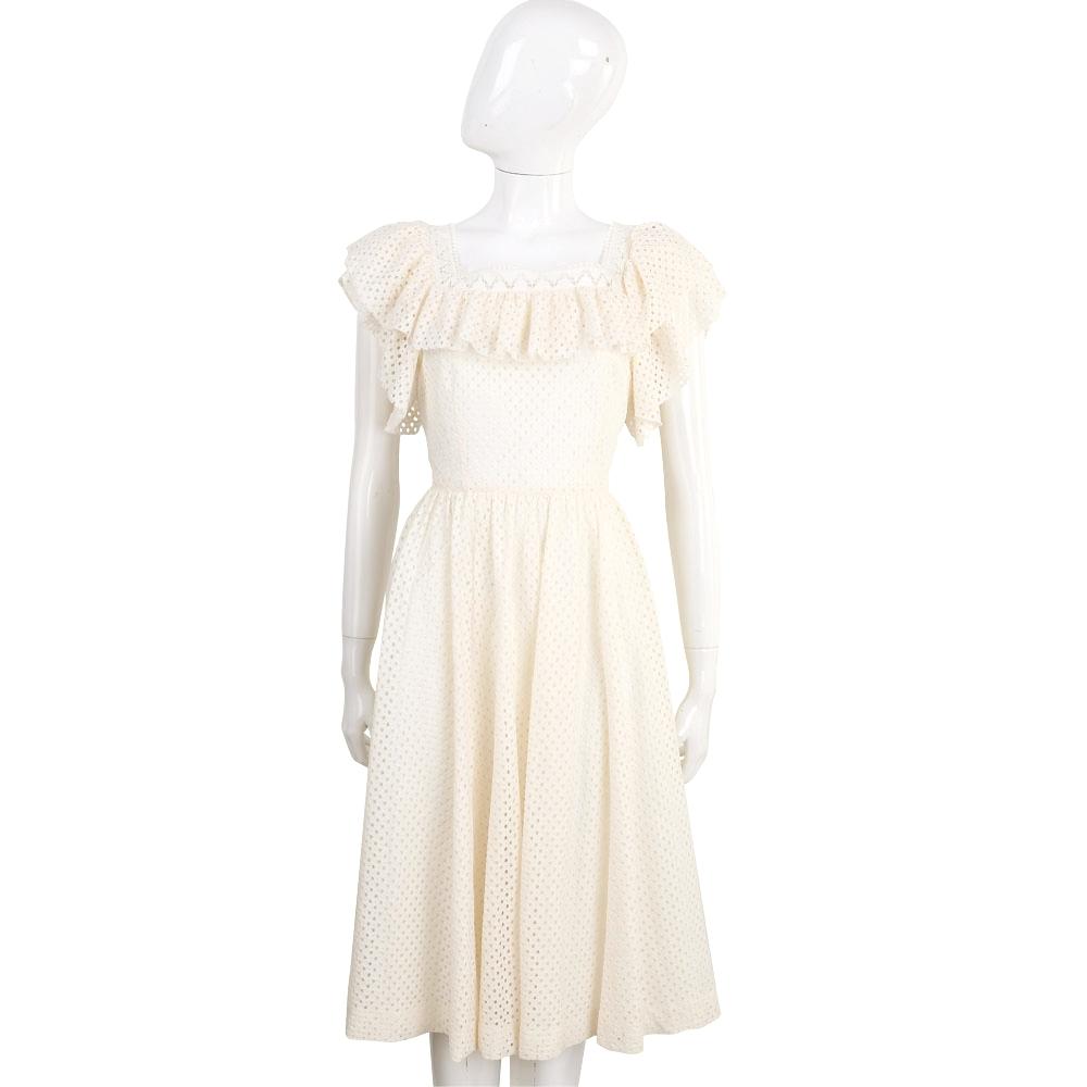 PHILOSOPHY 米白色洞洞縷空棉料荷葉襯邊方領洋裝