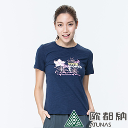 【ATUNAS 歐都納】竹節棉吸濕透氣排汗女款圓領短袖T恤A1-T1707W深藍