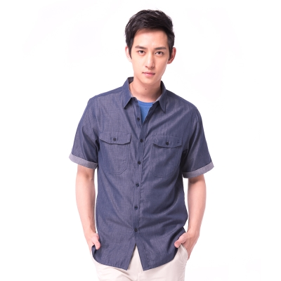 【hilltop山頂鳥】男款吸濕排汗抗UV天絲棉短袖襯衫S06M60-藍