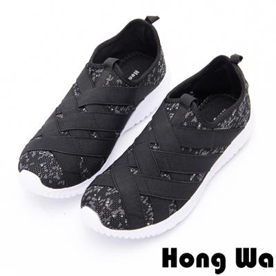 Hong Wa - 率性束帶運動休閒布鞋-黑