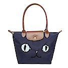 Longchamp 藍色貓咪圖騰長背帶折疊水餃包(中款)