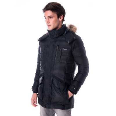 【hilltop山頂鳥】男款超撥水保暖蓄熱羽絨長大衣F21M50黑