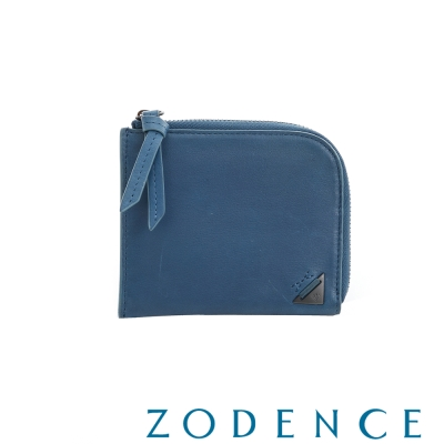 ZODENCE MAN 文青牛皮系列斜口設計拉鍊短夾 藍
