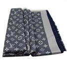 LV M71376 Monogram Denim 經典花紋羊毛絲綢披肩圍巾.藍