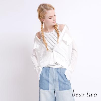 beartwo 簡約削肩羅紋背心上衣(三色)-動態show