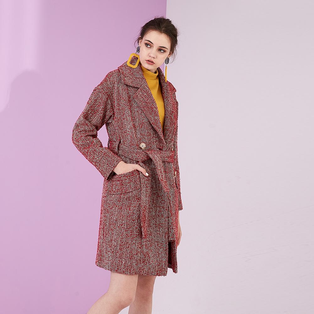 OverSize暖春毛呢翻領雙排釦挺版造型大衣外套-紅