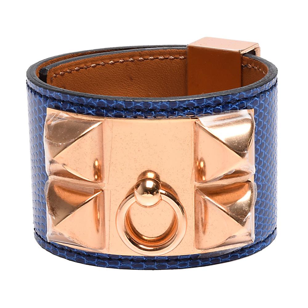 HERMES collier de chien金屬鉚釘亮面蜥蜴皮寬版手環S-藍X玫瑰金