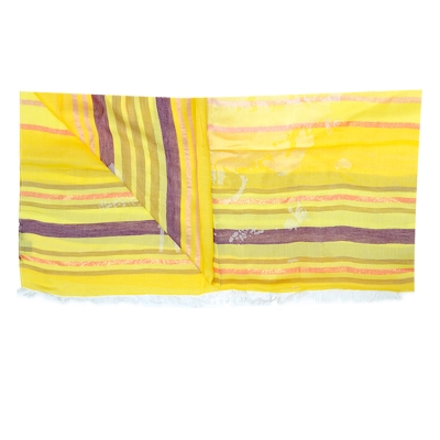 Alviero Martini 義大利地圖 條紋地圖絲巾-黃(80X180)