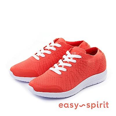 Easy Spirit--襪套式綁帶休閒走路鞋-魅力紅